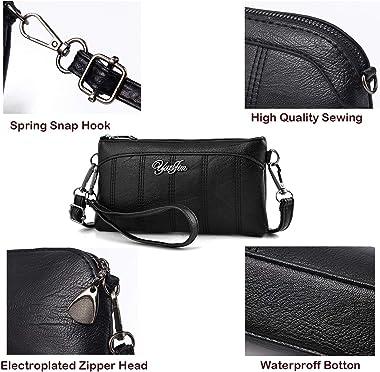 Veyarien Bolsa de piel sintética impermeable para teléfono celular, bolso de mano cruzada, bolso de hombro con correa de muñe