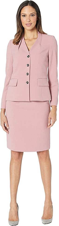 Skirt Suit with Inverted Collar