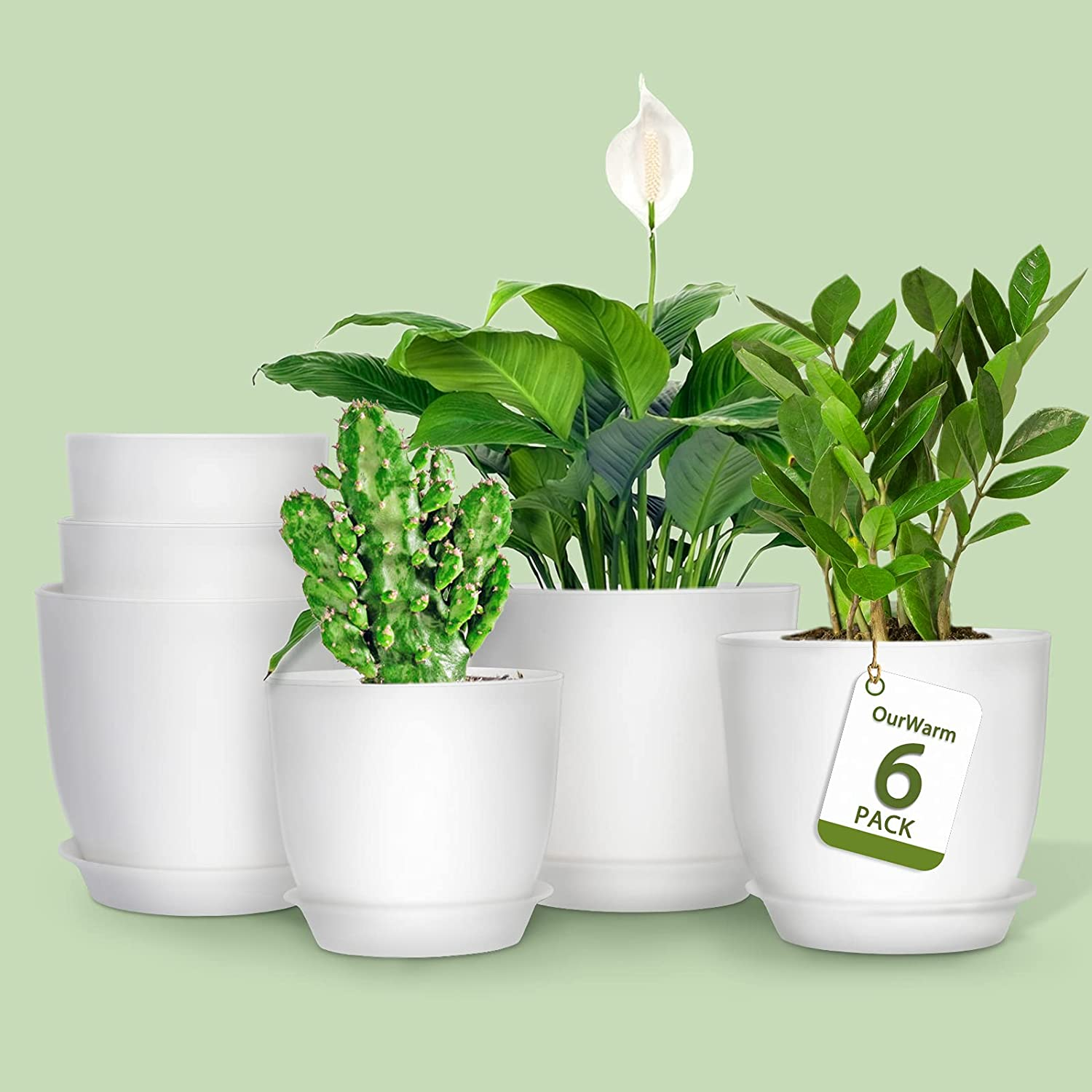 Ourwarm Plant Pots for Plants, Set of 6 White Plastic Planter Pots, 6.2/5.5/4.9 inch Modern Indoor and Outdoor Flower Pot for Office Decor and Patio Garden, Planters with Drainage Hole and Saucer Tray