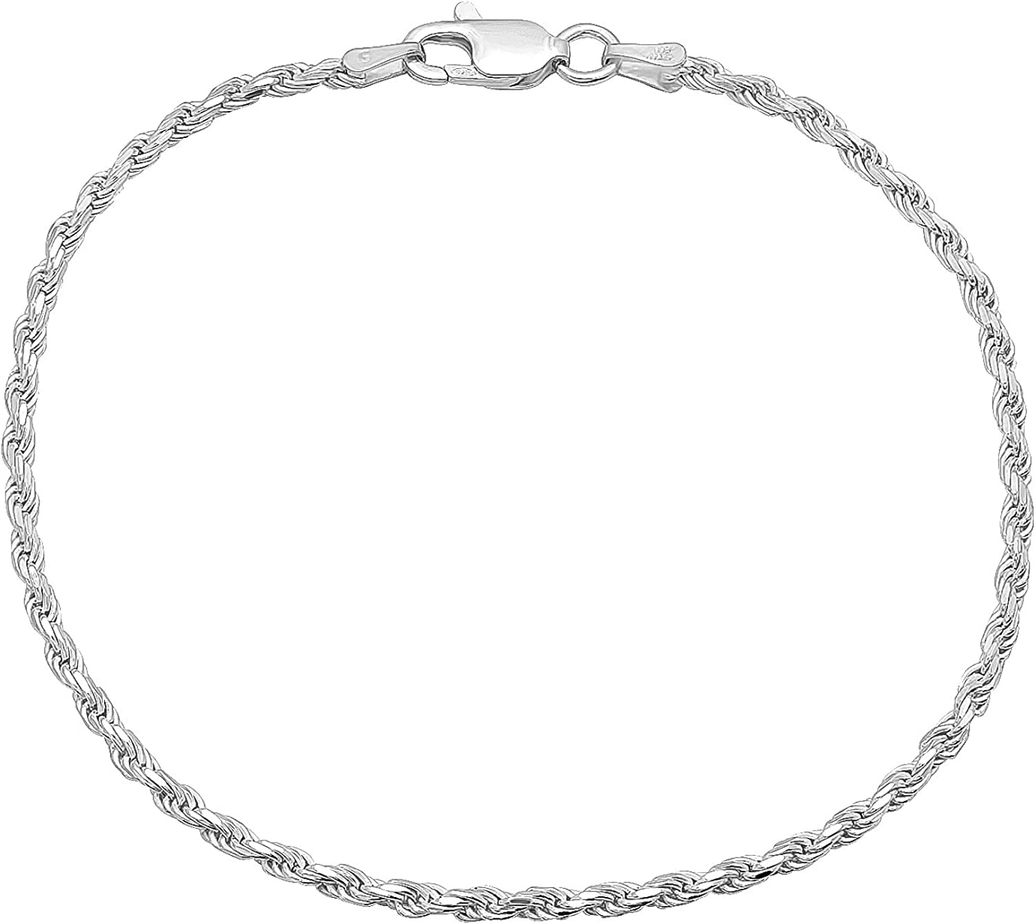 2.2mm Solid .925 Sterling Silver Rope Twisted Chain Omaha Mall 5% OFF Bracelet