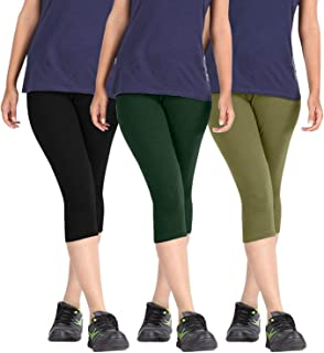 Fablab Capris for Girls_Ladies_Womens_Cotton_Lycra_3/4 th Pant(BlackDarkGreenGreen,Free Size) Combo Pack of 3.
