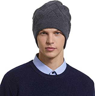 6a0046d4b6eb8 RIONA Men s 100% Australian Merino Wool Knit Beanie Hat Winter Warm Skull  Caps Headwear