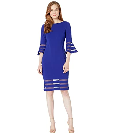 Calvin Klein Bell Sleeve Dress with Illusion at Cuff and Hem (Ultramarine) Women