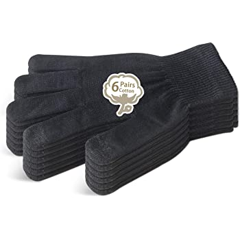 EvridWear Men Moisturizing Cotton Gloves with Touchscreen Fingertips for Eczema Beauty Cosmetic Dry Hands Sensitive Irritated Skin Therapy Overnight Bedtime, 6 Pairs, Lightweight-Black, L/XL