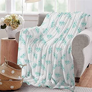 Luoiaax Turquoise Bedding Microfiber Blanket Swirling Flowers Branches Fresh Botanical Curvy Ornamental Lines Springtime Art Super Soft and Comfortable Luxury Bed Blanket W70 x L70 Inch Turquoise