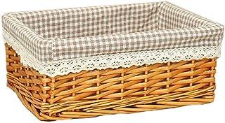 Laundry Basket LF Panier de rangement en rotin avec doublure en tissu amovible et lavable (couleur : beige-C, taille : L [...