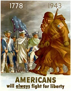 WPA War Propaganda Americans Will Always Fight for Liberty Cool Huge Large Giant Poster Art 36x54