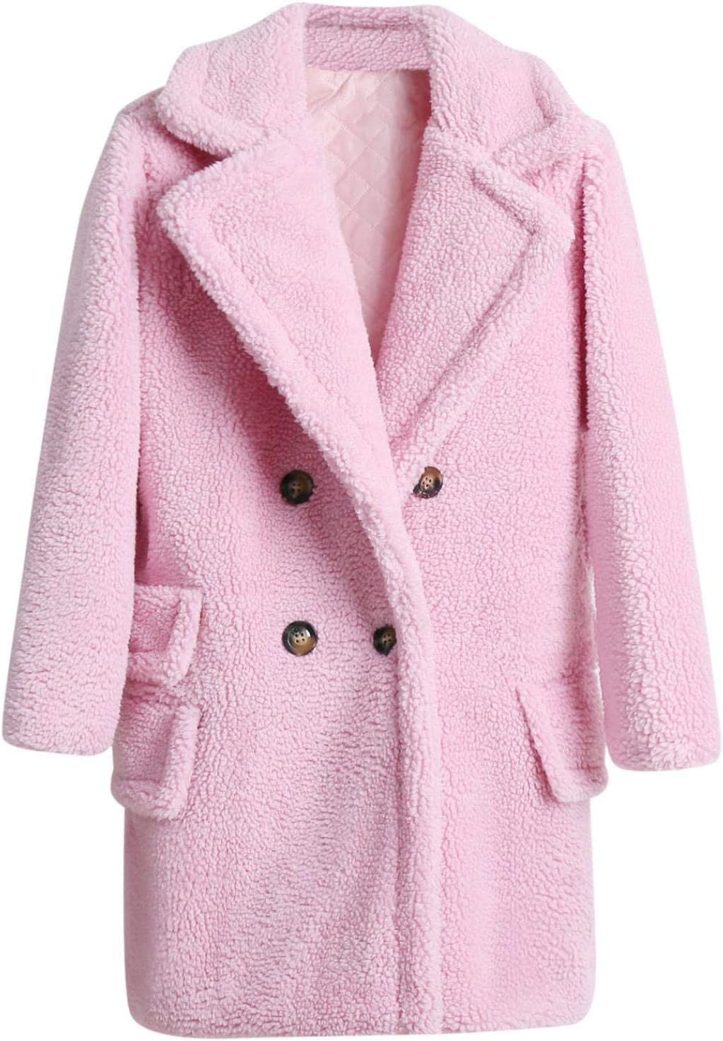 Smileyth Women's Thick Solid Overcoat B Long Max 54% OFF Lapel Double Quality inspection Sleeve
