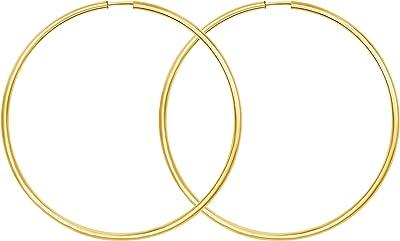Orecchini Cerchi Grandi in oro giallo 333 o 585 Donna 60 mm, largh. 2 mm, marchio di garanzia made in Germany