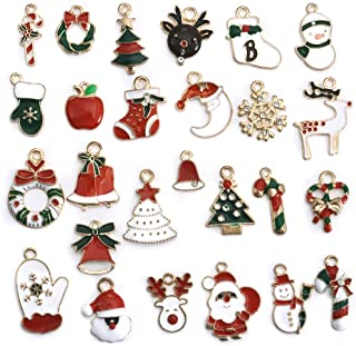 Best LANBEIDE 52PCS Christmas Charm Pendant for Necklace Bracelet Earrings Enamel Charms for Jewelry Making Crafting Decoration Review