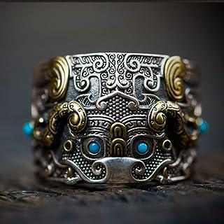 خاتم من الفضة الإسترلينية للرجال على الطراز الصيني خاتم للرجال والنساء، يمكن تعديل المقاس أفضل هدية لصديق (اللون: أزرق)
