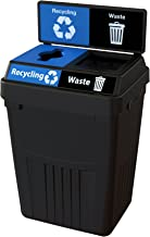 CleanRiver Flex E bin Indoor and Outdoor Sturdy 2-in-1 Waste and Recycling Bin with Backboard FX50B-BK2-R-BE-W-BK, 50 Gallons, Black