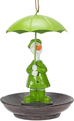 Transpac Lime Green Duck with Umbrella 8 x 10.5 Resin Decorative Outdoor Hanging Bird Feeder