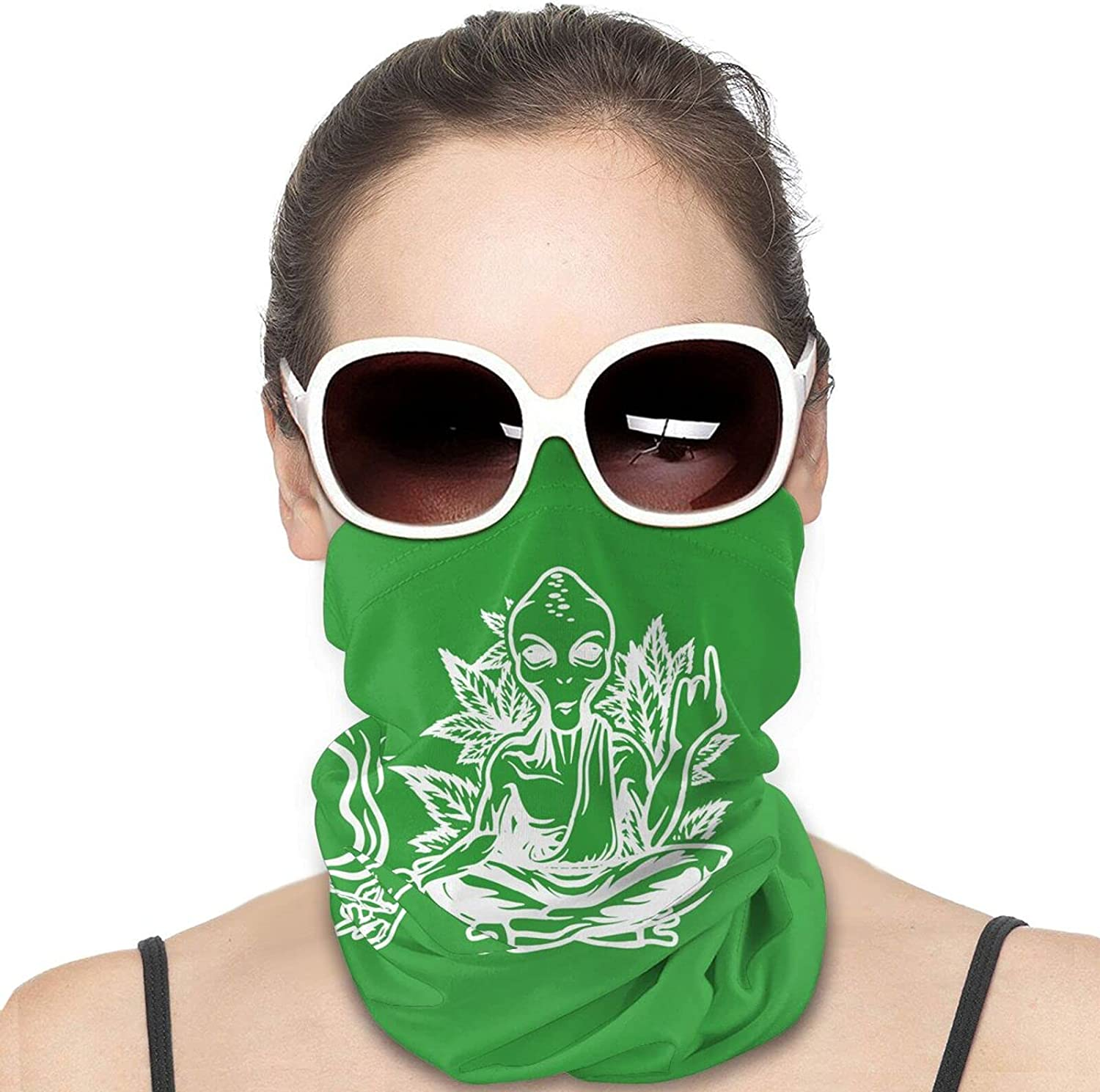 Alieng Smoking Weed Meditate Round Neck Gaiter Bandnas Face Cover Uv Protection Prevent bask in Ice Scarf Headbands Perfect for Motorcycle Cycling Running Festival Raves Outdoors