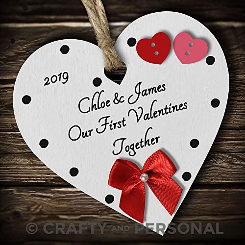 7341b870d2c6 Crafty and Personal Personalised Our 1st First Valentines Together plaque  present wooden heart hanging ornament keepsake
