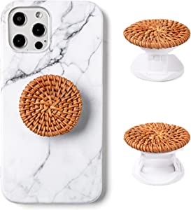 Matte Stone Handmade Real Natural Rattan Phone Grip Stand for Cell Phone and Tablet (Brown)