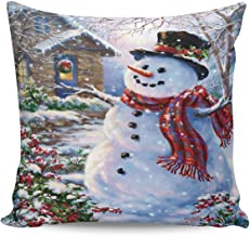 Caffling Velvet Soft Decorative Square Throw Pillow Covers 16x16 inch, Merry Christmas Cute Snowman House Snow Scene Euro Shams Cushion Cover Cases Pillowcases for Sofa Couch Chair Bed Car Back Seat