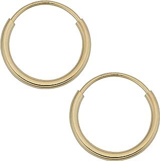 14k Yellow Gold 1 mm Round Tube Endless Hoop Earrings (10, 12, 14, 16 or 18 mm)