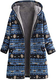 Doric Womens Plus Size Thickened Fleece Lined Winter Coat Vintage Ethnic Printed Hooded Jacket Outwear