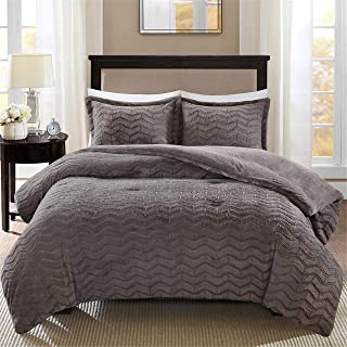 Madison Park Sloan Plush Down Alternative Comforter Mini Set Grey Twin (Renewed)