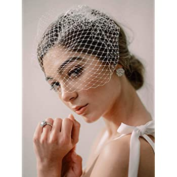Bridal Birdcage Veil Champagne White Flowers Feather Wedding Netting Bridal Veil