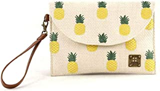 For Time, Bolso rafia de mano Pineapple para Mujer, Marrón, 27x18x1 cm