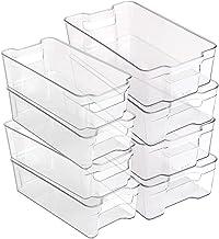 BINO Stackable Plastic Organizer Storage Bins, 8 Pack - Pantry Organization and Storage Refrigerator Organizer Bins Fridge...