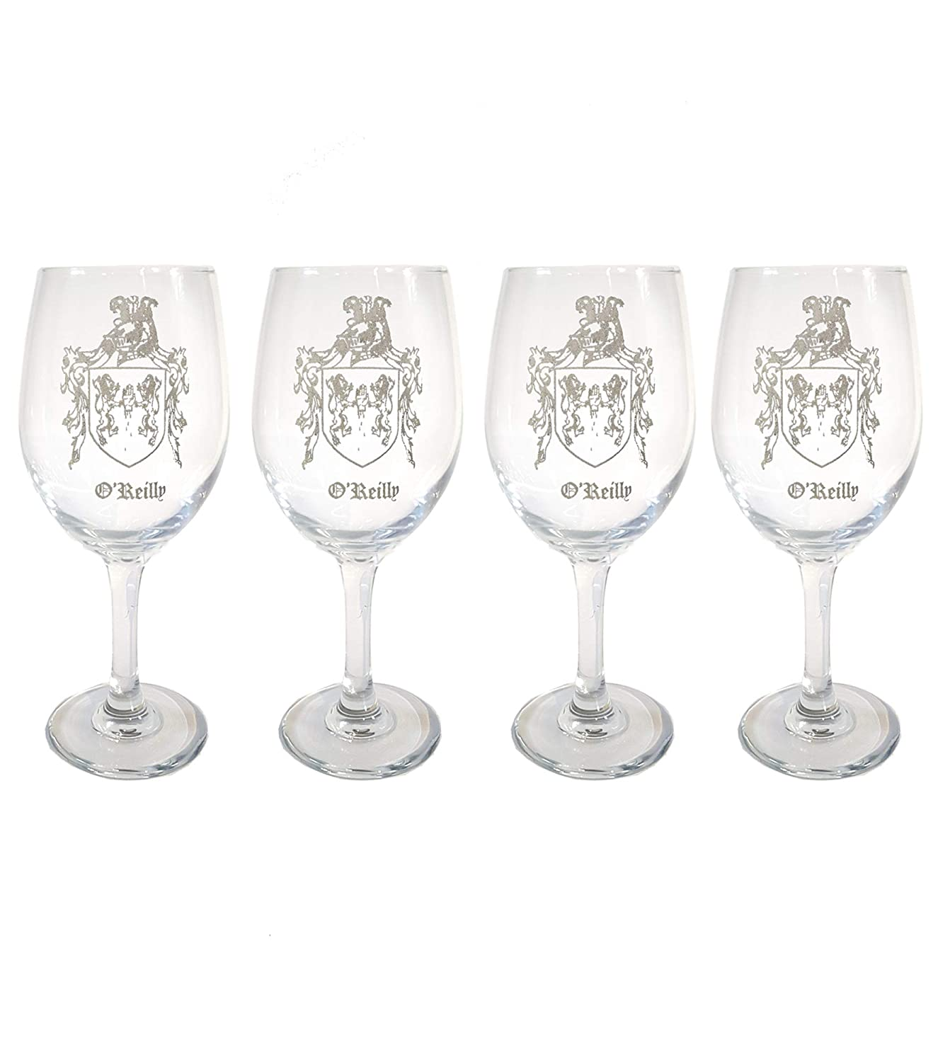 O'Reilly Irish Family Coat of Arms Glass Set Long Beach Mall 18oz Max 41% OFF Clear Wine