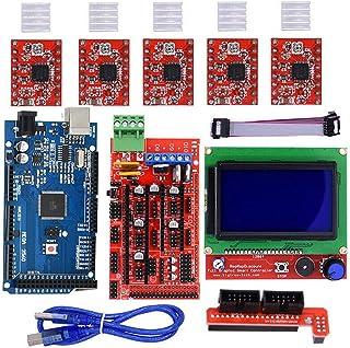 Yanhonin Kit de Impresora 3D para Arduino/Mega 2560 + RAMPS 1.4 + A4988 Controlador de Motor Pasos + LCD 12864 para Arduino Reprap