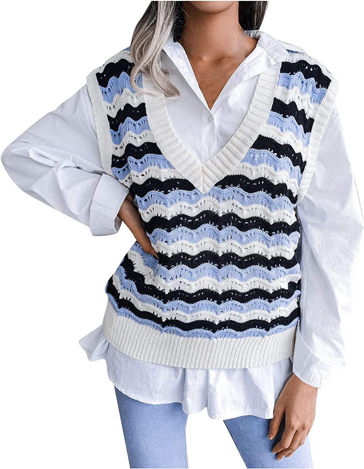 Women's Basic V Neck Sleeveless Pullover Knit Sweater Vest Striped Vintage Print Casual Knitted Tank Top Loose Jumper Tops