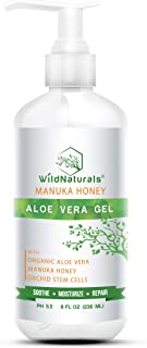 Wild Naturals Organic Aloe Vera - 100% Pure Leaf Gel - Hydrating After Sun Care, Moisturizing for Face, Body, Skin & Hair ...