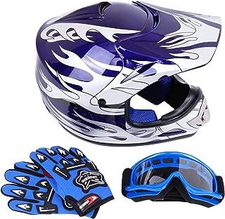 Sange DOT Youth Kids Offroad Helmet Motocross Helmet Dirt Bike ATV Motorcycle Helmet Gloves Goggles (Blue, Medium)