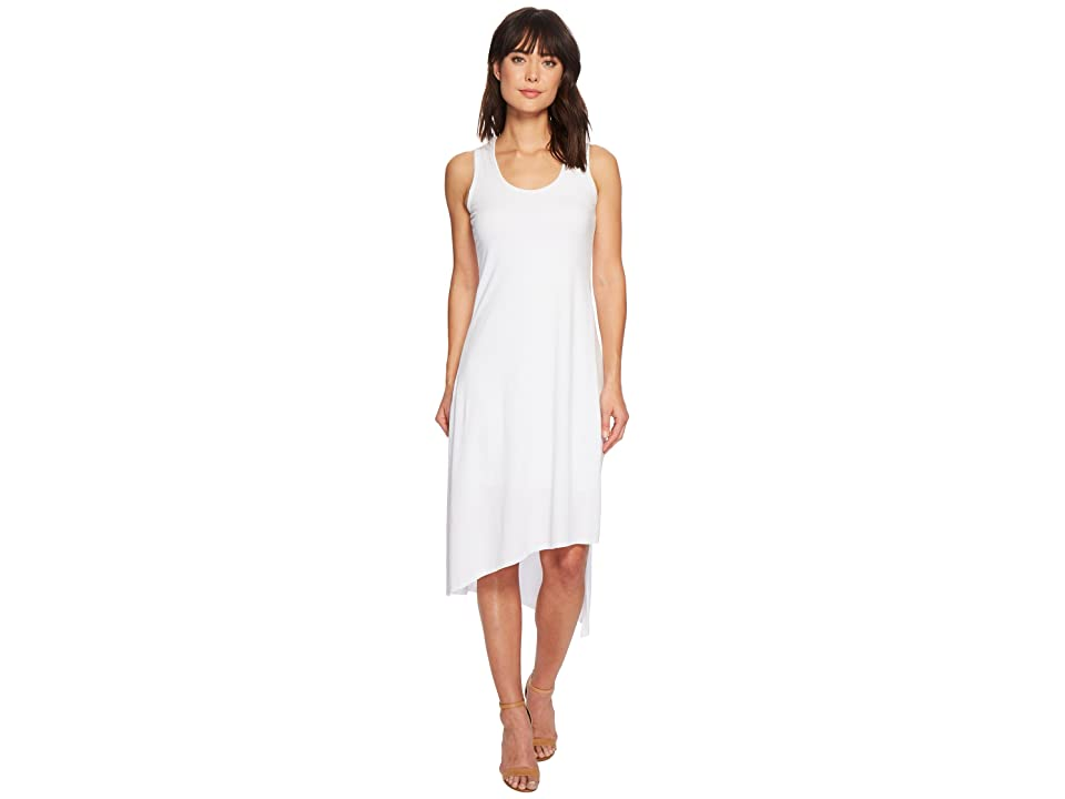 Mod-o-doc Cotton Modal Spandex Jersey Double Layer High Side Slit Tank Dress (White) Women