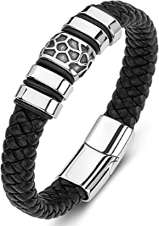AIZU Braided Leather Wrap Bracelet - Black Brown Blue Genuine Woven Leather Bracelet with Stainless Steel Magnetic Clasp f...
