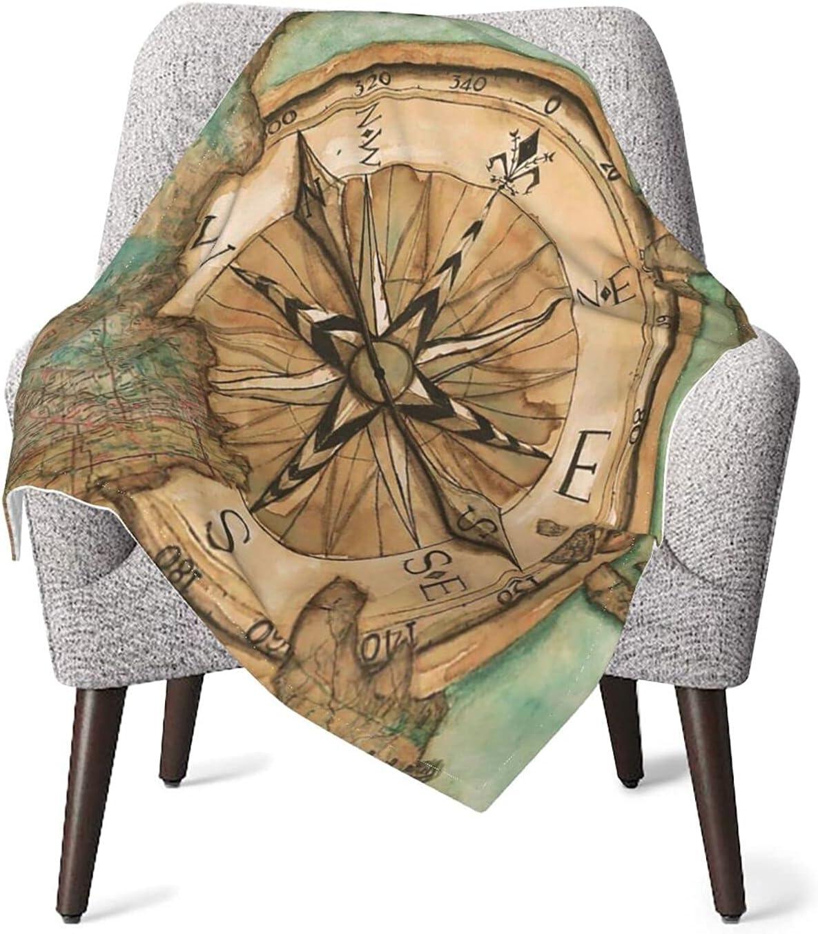 Nautical Compass Wooden Warm Cozy Virginia Beach Mall Air Conditionin Many popular brands Throw Blankets