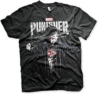 Oficialmente Licenciado Marvel'S The Punisher Blood Camiseta para Hombre (Negro)