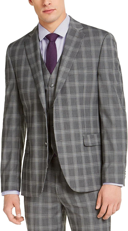 Alfani Mens Plaid Slim Fit Sportcoat Gray 44S