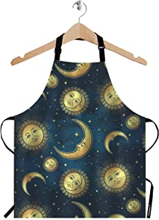 WONDERTIFY Gold Celestial Bodies Apron,Boho Chic Moon Sun and Stars Over Blue Night Sky Bib Apron with Adjustable Neck for Men Women,Suitable for Home Kitchen Cooking Waitress Chef Grill Bistro Apron