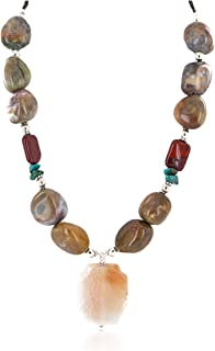 $280Tag Silver Certified Navajo Natural Turquoise Agate Native Necklace 24514-3 Made by Loma Siiva