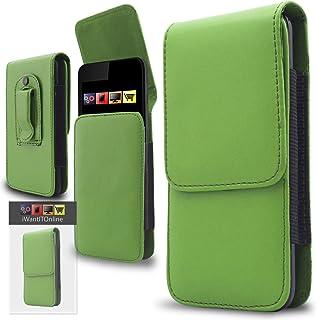 comprar comparacion IWIO Bush Spira B35,5inch, Funda con tapa hecha de piel sintética verde, con bolsitas y cinturón...