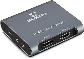 BOSTIN キャプチャーボード ゲームキャプチャー HDMIビデオキャプチャー タイプCデータケーブル付き USB3.0 HD1080P 60FPS 日本語説明書付き OBS 、Potplayer、XSplit、Zoomに適し Youtube...