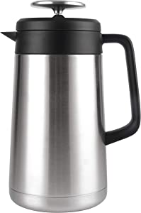 Stainless Steel French Press Coffee Maker (34 oz) - No More Wasted Premium Coffee! Maximum Heat Retention, Double Wall, Thermal Insulated. Large Coffee Press Pot - For Tea Lover's too - Cresimo