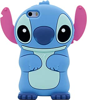 Blue Stitch Case for Apple iPod Touch 4 th 4th Generation 3D Cartoon Animal Cute Soft Silicone Rubber Character Cover,Kawaii Animated Funny Cool Skin Shell for Kids Guys Child Teens Girls(Touch 4th)