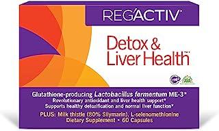 REG'ACTIV Detox & Liver Health, 60 Capsules, with The Glutathione-producing probiotic Lactobacillus fermentum ME-3, Easy-t...