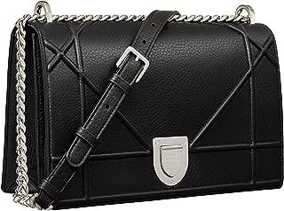 SHOULDER BAG IN BLACK LEATHER WITH LARGE CANNAGE DESIGN CROSSBODY BAG