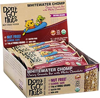 Don't Go Nuts Nut-Free Organic Snack Bars, Whitewater Chomp, 12 Count, Chewy Granola Bar with White Chocolate