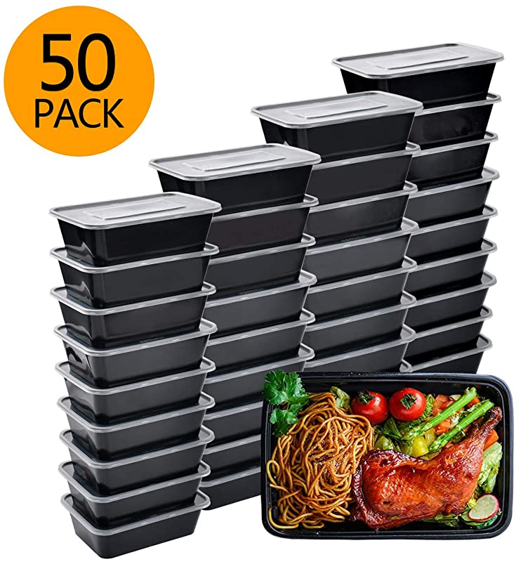Meal Prep Containers 50 Pack Bento Boxes Disposable Plastic Bento Insulated Lunch Box Reusable Healthy Food Storage Containers With Lids For Dishwasher Freezer Safe 750ML 26 OZ