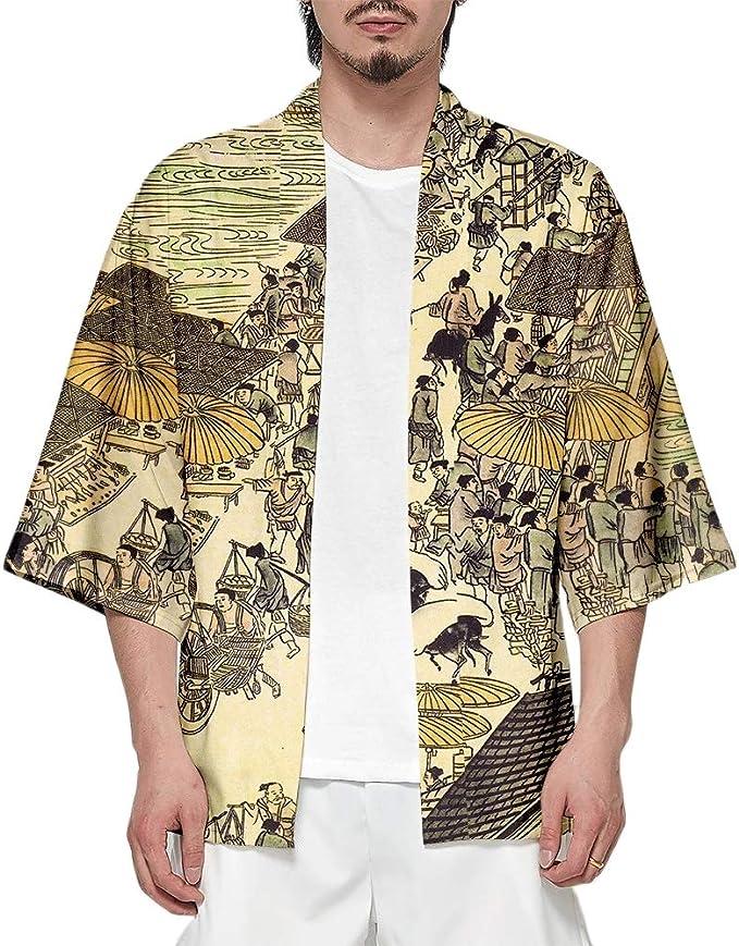 Camiseta de Hombre Cárdigan Casual Estampado Suelto ...