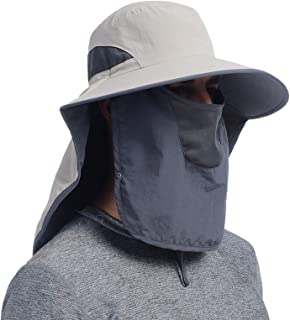 Outdoor Fishing Hat with Face Mask Ear Neck Flap Cover, Wide Brim Sun Hat UPF 50 UV Protection Safari Sun Cap for Men Wome...
