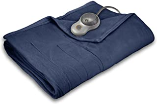 Sunbeam Heated Blanket | 10 Heat Settings, Quilted Fleece, Newport Blue, King - BSF9GKS-R595-13A00